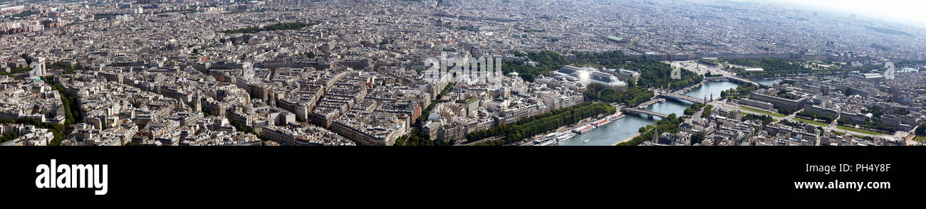 High resolution panorama shot from the Eiffel Tower in Paris France of the length of the Champs Elysees from the Arc De Triomphe to The Louvre Stock Photo