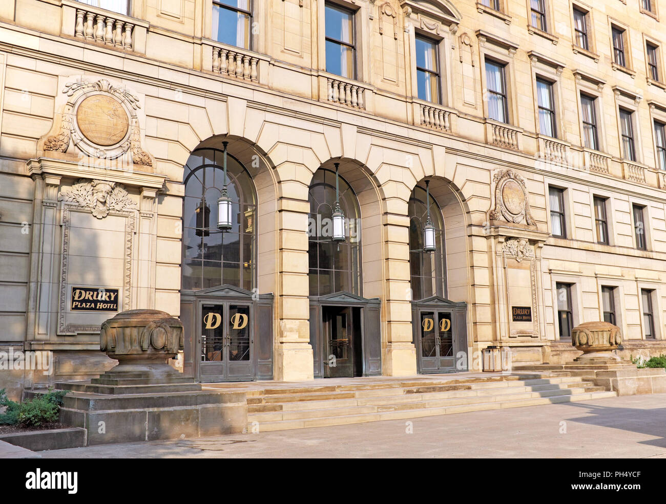 The Drury Hotel in downtown Cleveland Ohio is a beaux-arts structure renovated from Cleveland Board of Education offices into a 189-room hotel. Stock Photo