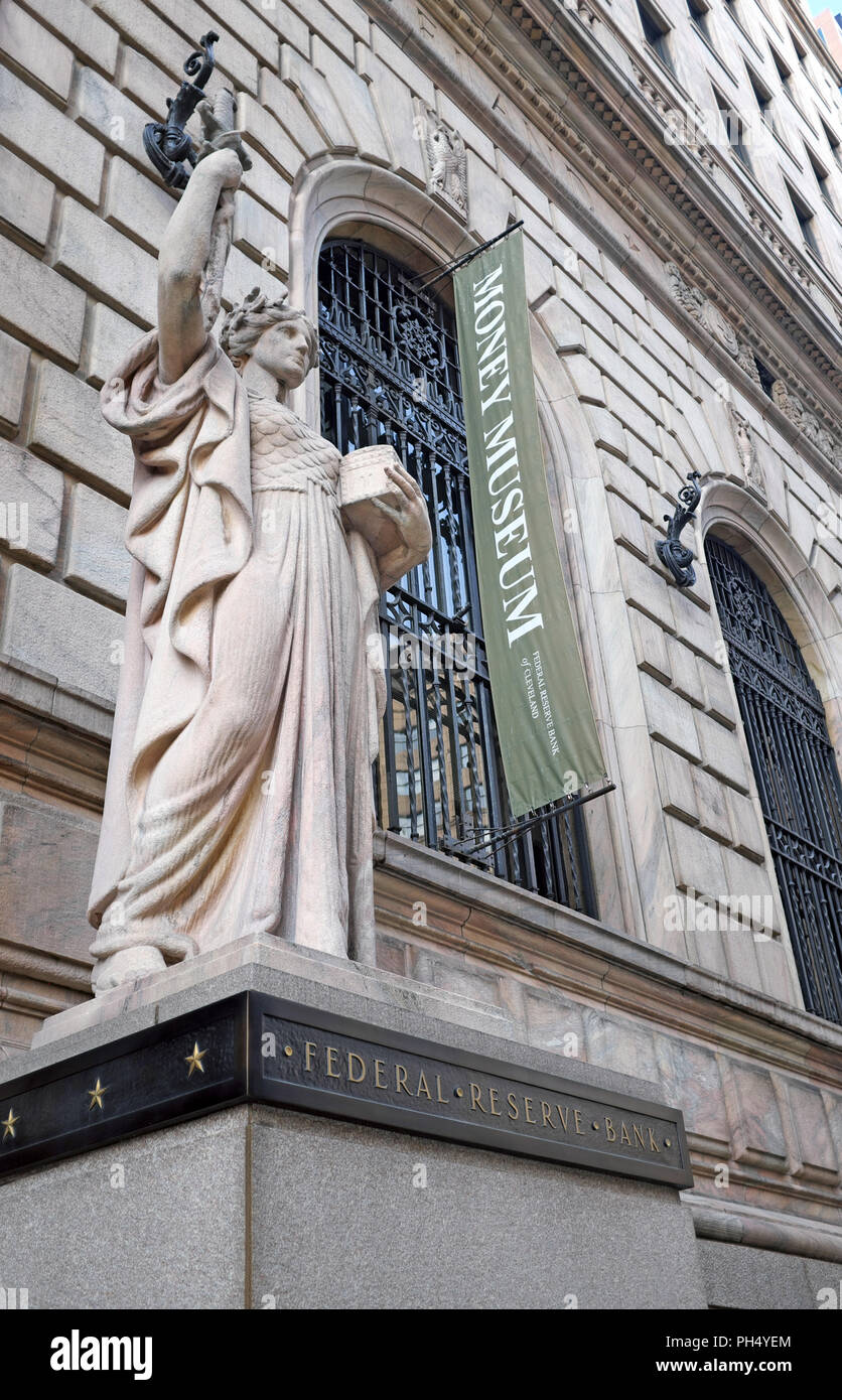 Statue of Integrity by Henry Hering has guarded the U.S. Fourth District Federal Reserve Bank, now includes the Money Museum, since 1933 in Cleveland. Stock Photo