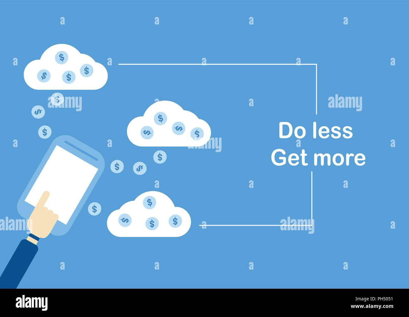 Vector illustration design in concept of 'Do Less Get More'. At the online banking. - Stock Vector