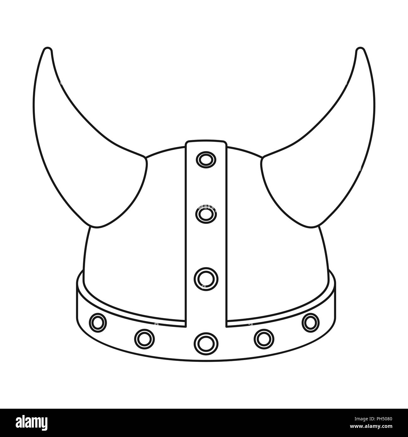 Viking helmet icon in outline style isolated on white background. Hats  symbol vector illustration. 81996c522