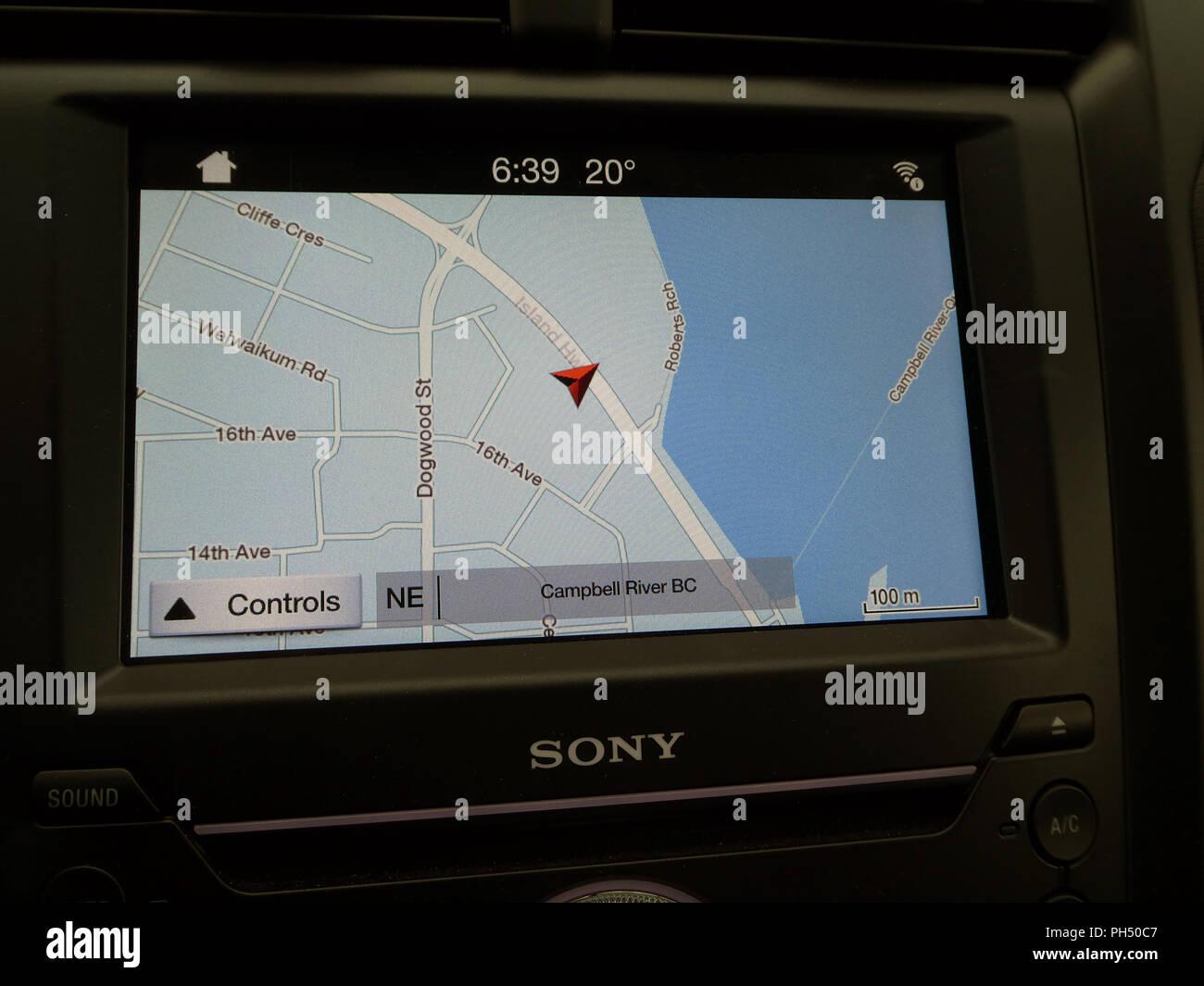 Satellite Navigation in-car display 2018 - Stock Image