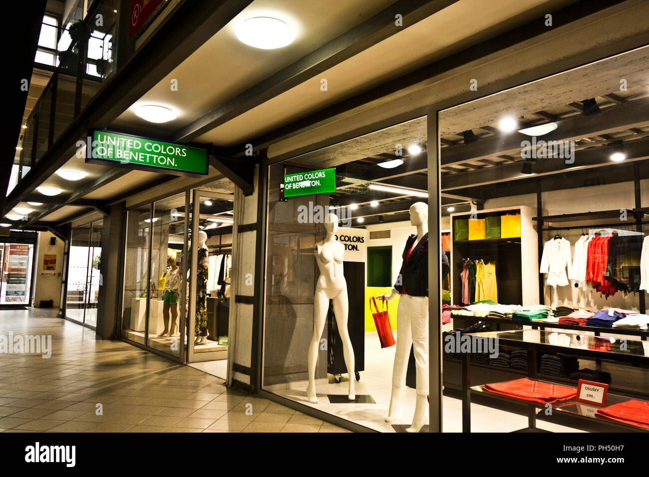 United colors of Benetton fashion shop in a mall in Prague, Czech republic - Stock Image