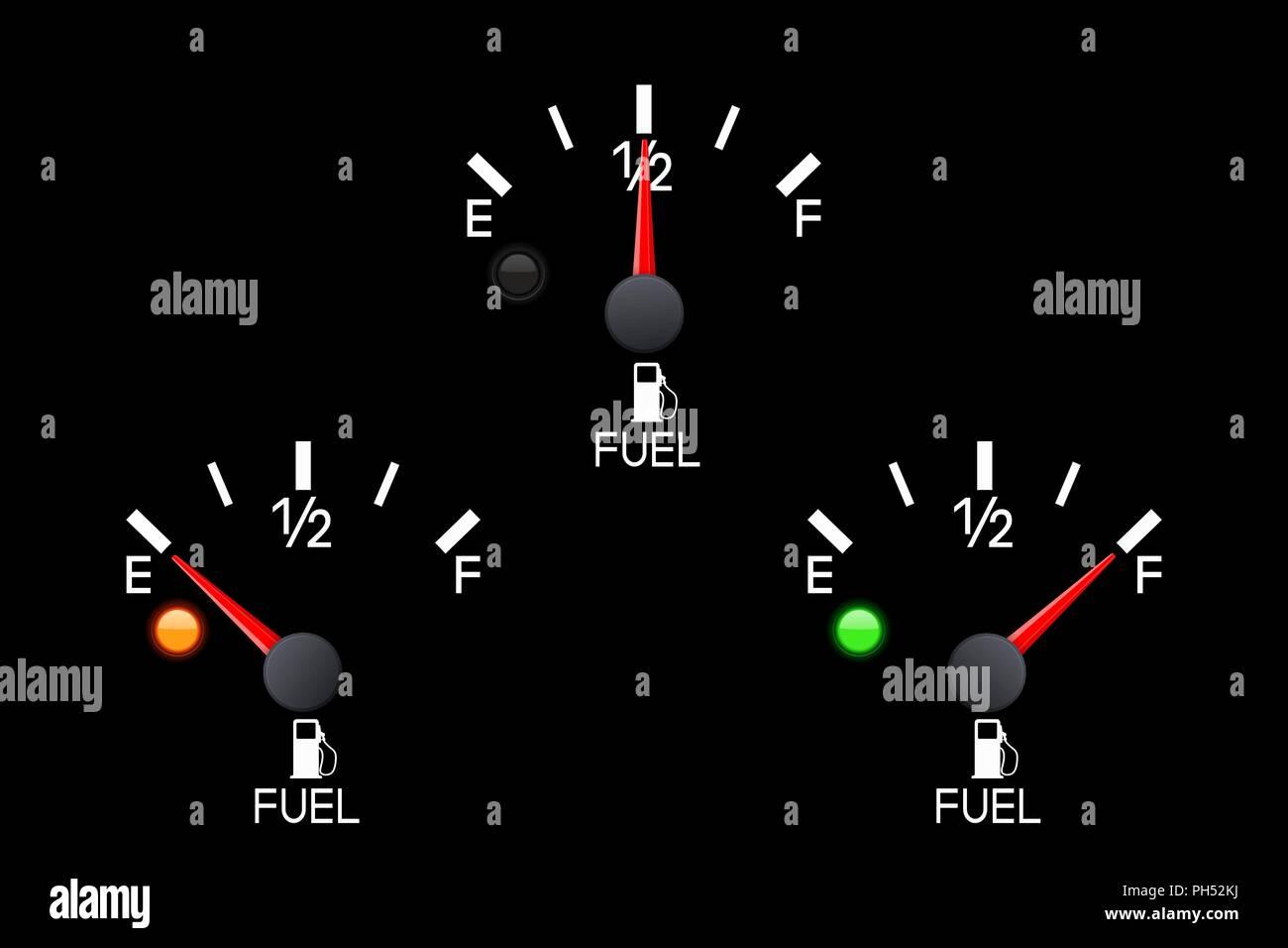 Fuel gauge  Set of car dashboard black scales Stock Vector