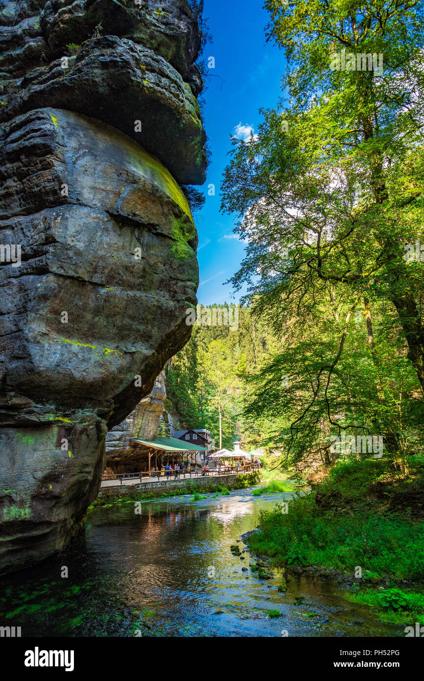 The Kamnitz Gorge in Saxon-Bohemian Switzerland, Czech Republic - Stock Image