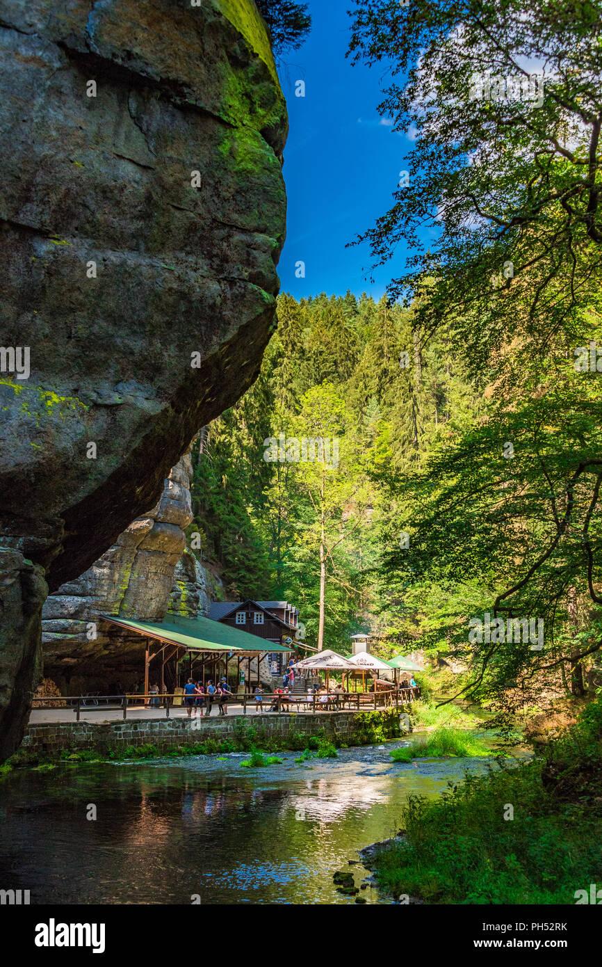 The Kamnitz Gorge in Saxon-Bohemian Switzerland, Czech Republic - Stock Image
