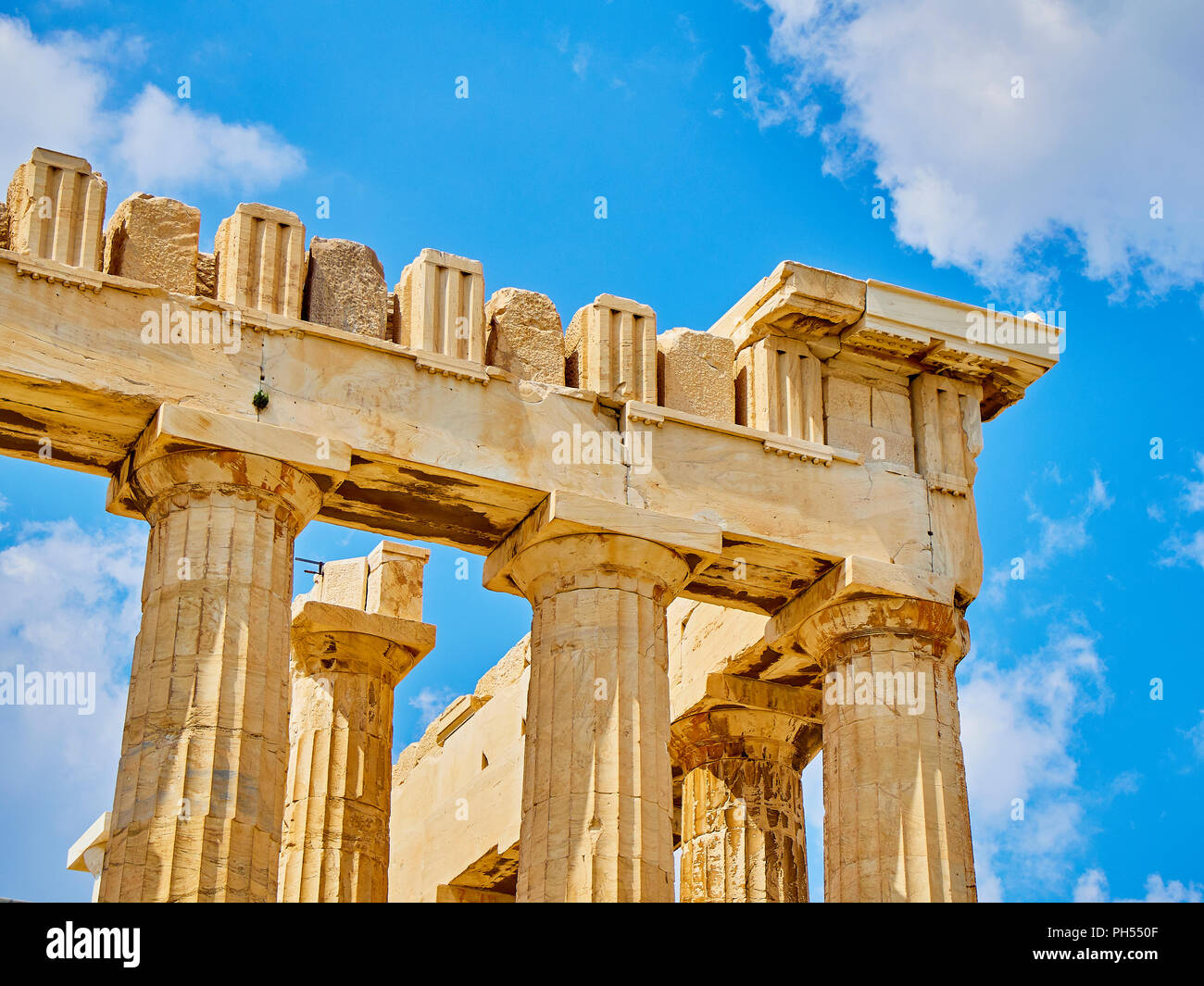Entablature detail of the southern side of the Parthenon, the ancient temple honoring to the goddess Athena on the Athenian Acropolis. Athens. Attica, - Stock Image