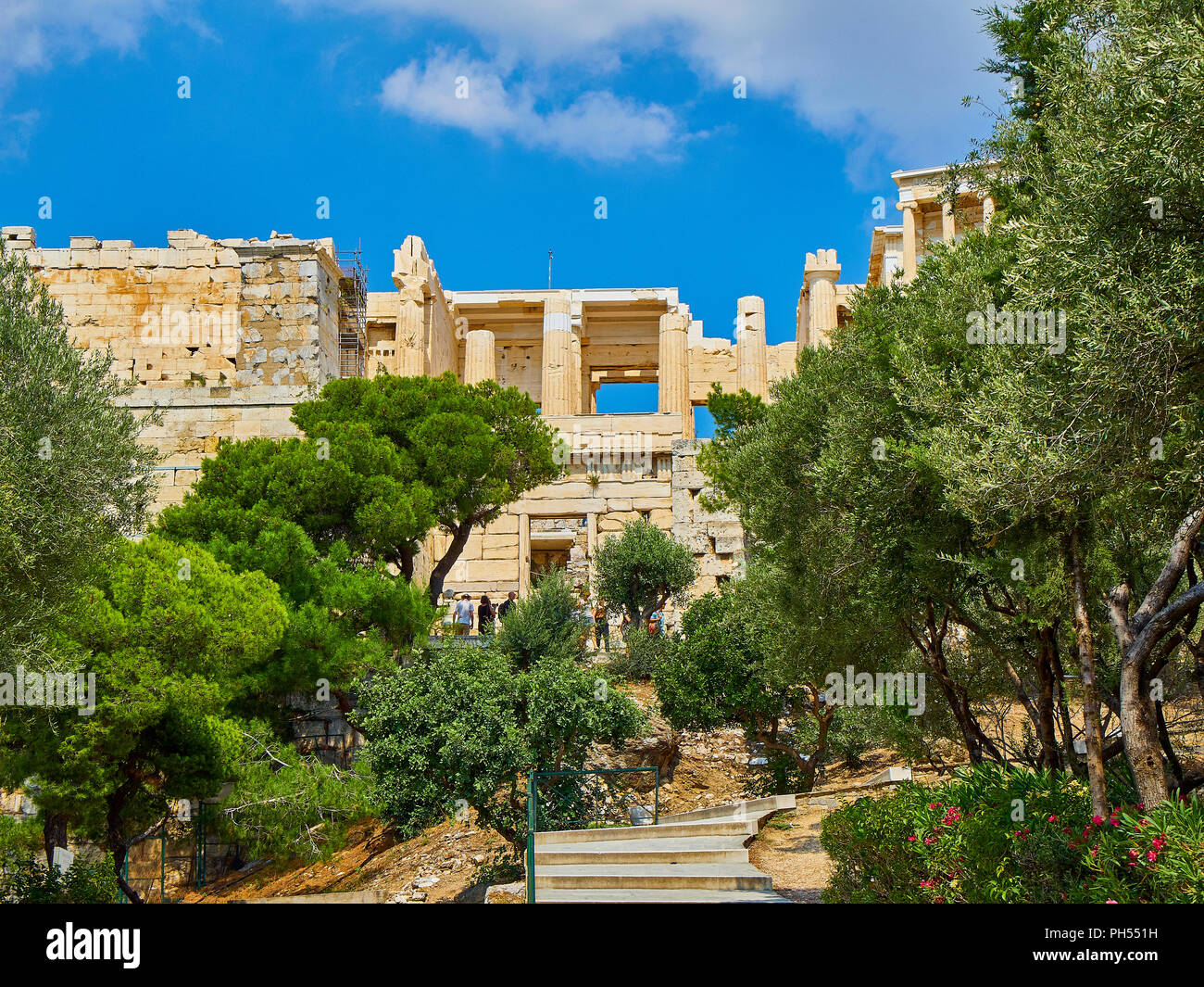 Athens, Greece - July 1, 2018. Western side of Propylaea, the ancient gateway to the Athenian Acropolis. Athens. Attica, Greece. - Stock Image