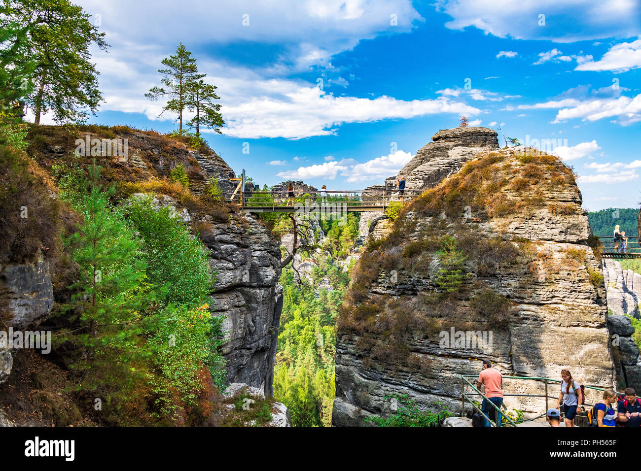 The Elbe Sandstone Mountains  is part of the Saxon Switzerland National Park in Germany - Stock Image