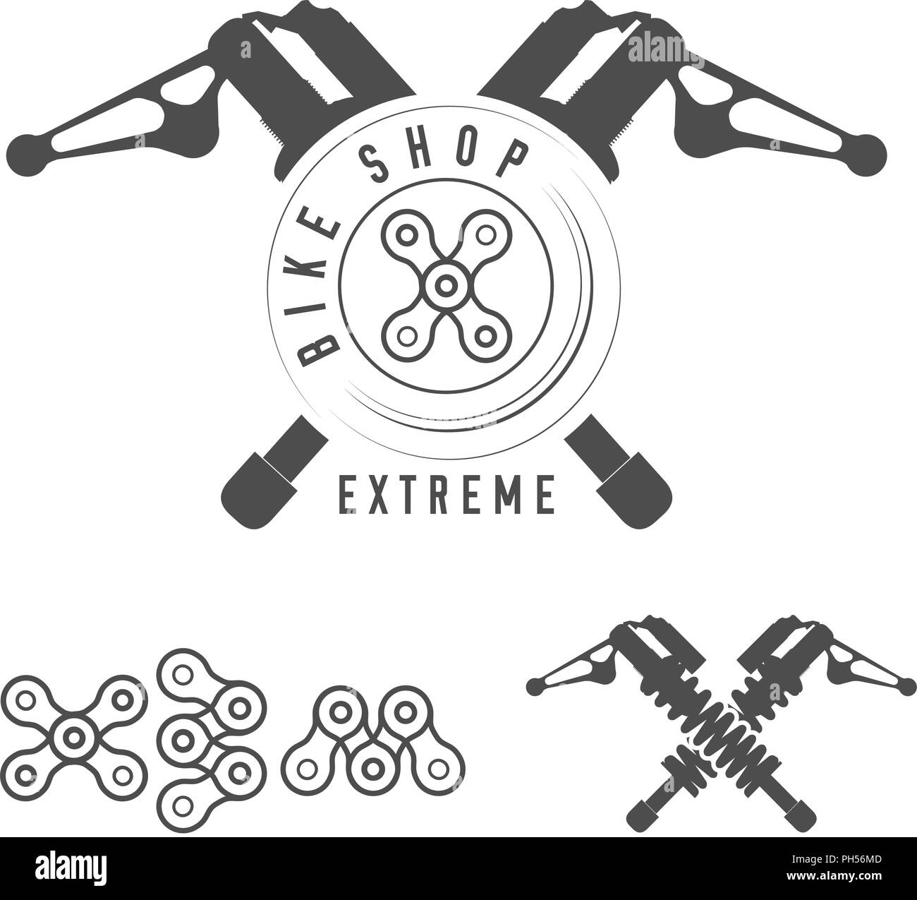 Bicycle Shop, Extreme Bikes Emblem. Crossed Rear Shock Absorbers, X Sign Made of Bicycle Chain. Monochrome Vector Illustration. Extreme Typography. - Stock Image