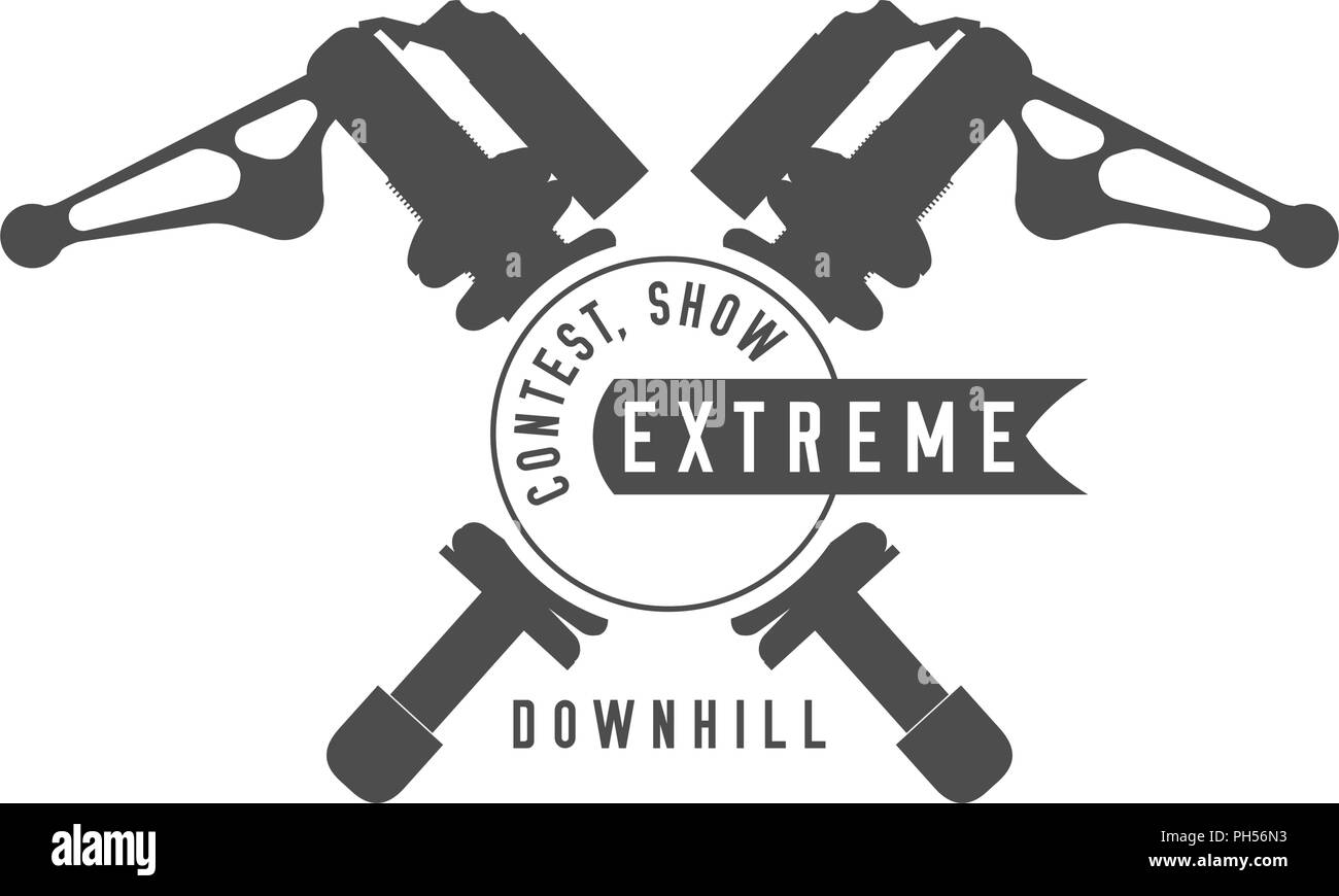 Bicycle Show, Extreme Bikes Contest Emblem. Crossed Rear Shock Absorbers, Ribbon Banner. Monochrome Vector Illustration. - Stock Vector