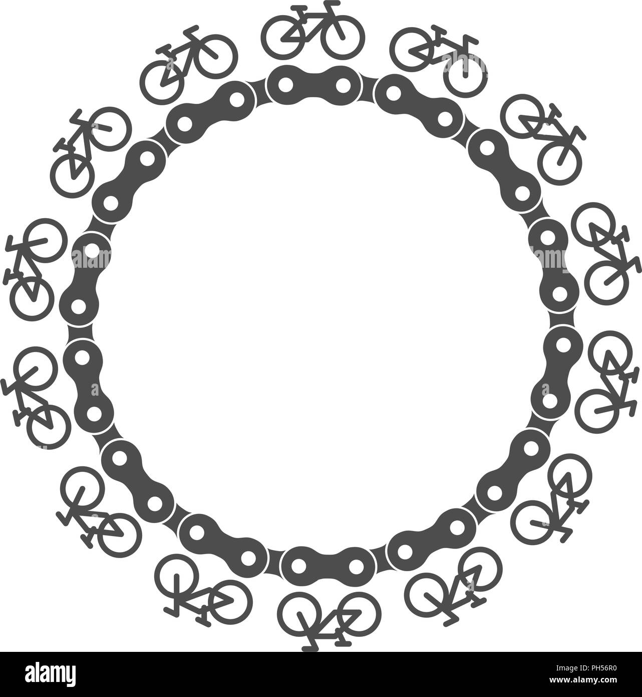 Bike Chain Circle Frame with Simple Bicycle Icons Around. Monochrome ...