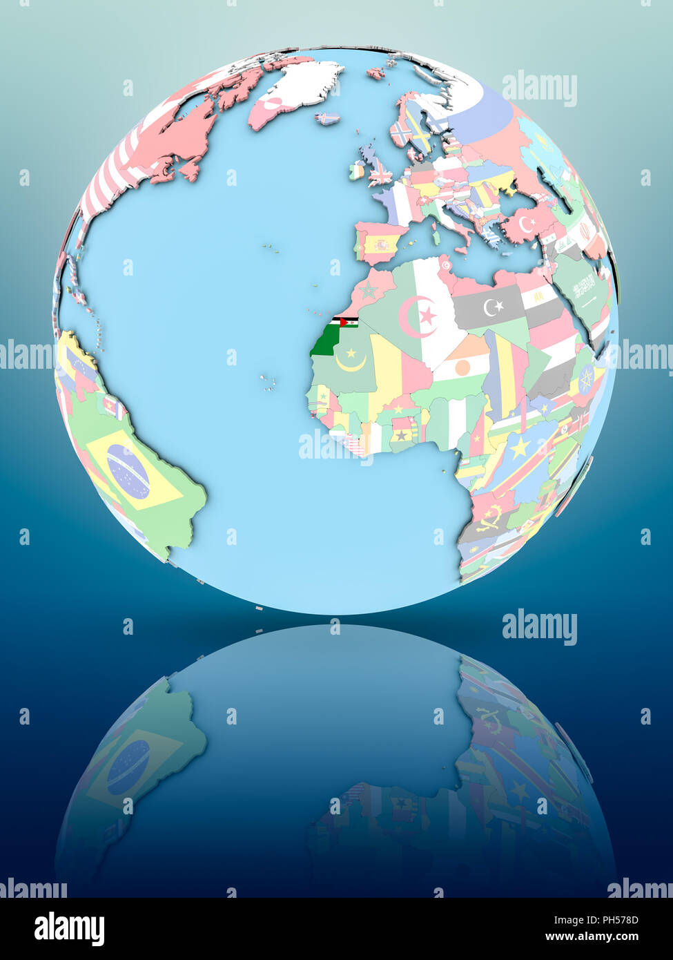Western Sahara on political globe with national flags on reflective surface. 3D illustration. - Stock Image