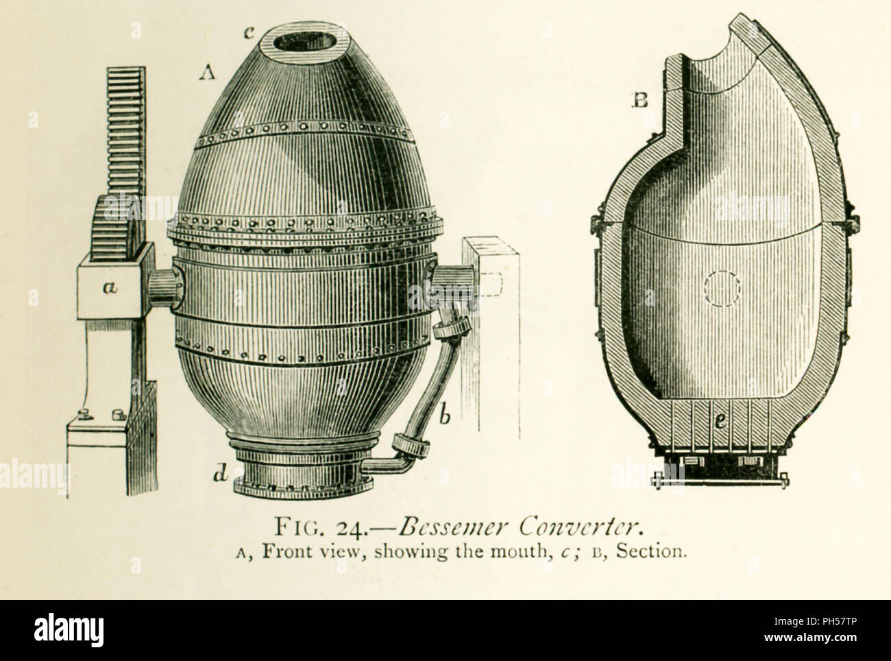 This illustration dates to the 1870s and shows a Bessemer converter. The caption reads: Bessemer Converter. A Front view, showing the mouth (c); B, Section. The Bessemer process was the first method discovered for mass-producing steel. It was named for Sir Henry Bessemer of England. The vessel, converter,  in which it took place is shown here. It is an egg-shaped vessel, about 3.5 feet in diameter, made of wrought iron in two parts and lined in the inside with a thick infusible coating made from ground fire-bricks and a certain kind of sandstone. The two parts are united by flanges strongly bo - Stock Image