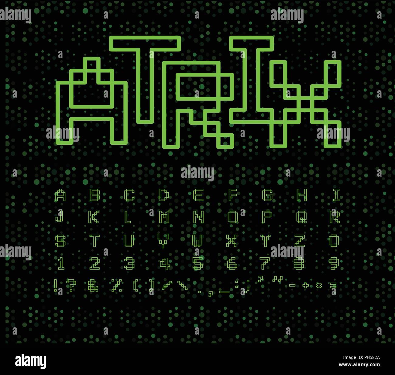 Matrix font, geometrical lines  Green digital letters on