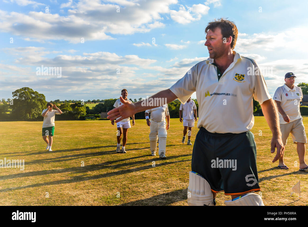 Blaksley - UK - 08/05/18 - Summer cricket in Northamptonshire - Blaksley - UK Stock Photo