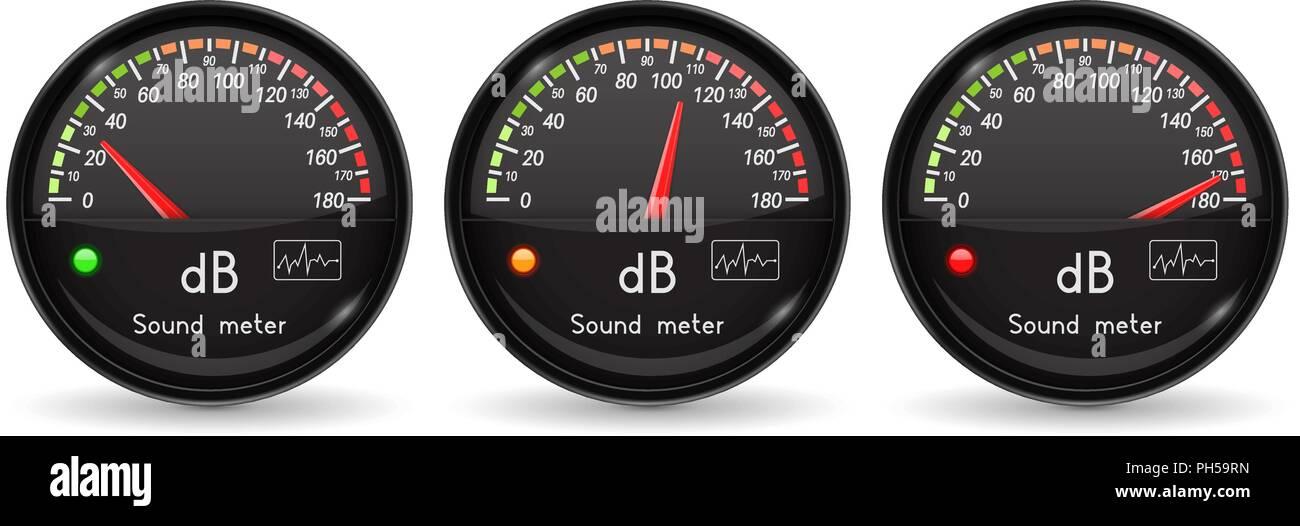 Decibel gauge. Volume unit. Black gauge with chrome frame - Stock Vector