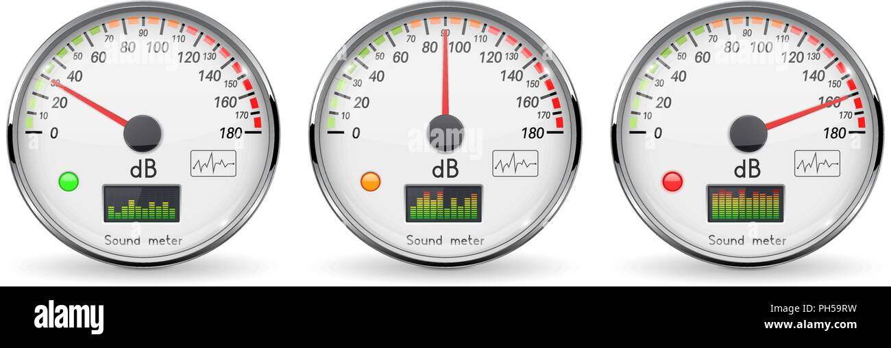 Decibel gauge set. Volume unit. Glass gauge with chrome frame - Stock Vector