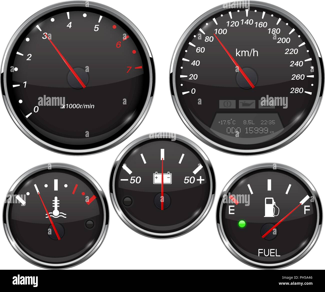 Car dashboard 3d gauges. Speedometer, tachometer, fuel gauge, temperature and accumulator charge device - Stock Vector