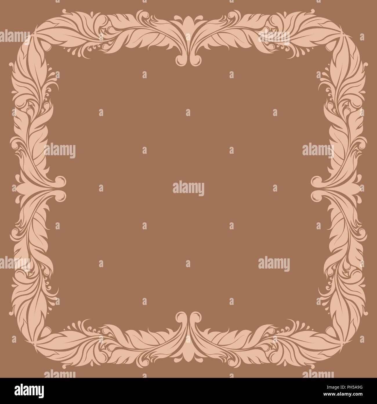 Beige filigree ornamental frame on brown background Stock Vector Art ...