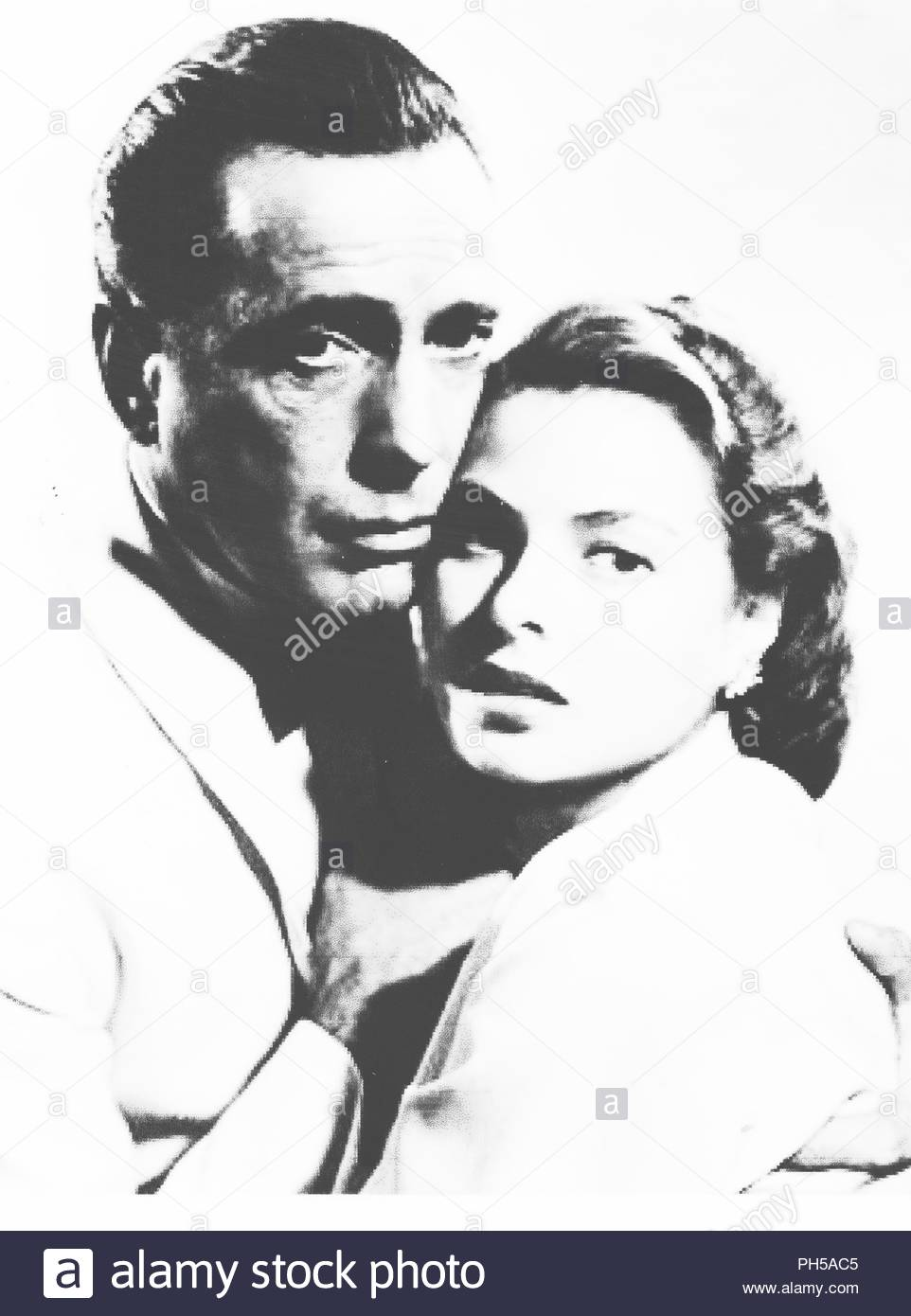 Humphrey Bogart and Ingrid Bergman in a publicity photo for their 1942 film Casablanca (1943). It won the Academy Award for Best Picture. With Paul Henreid, Claude Rains, Conrad Veidt, Peter Lorre. - Stock Image