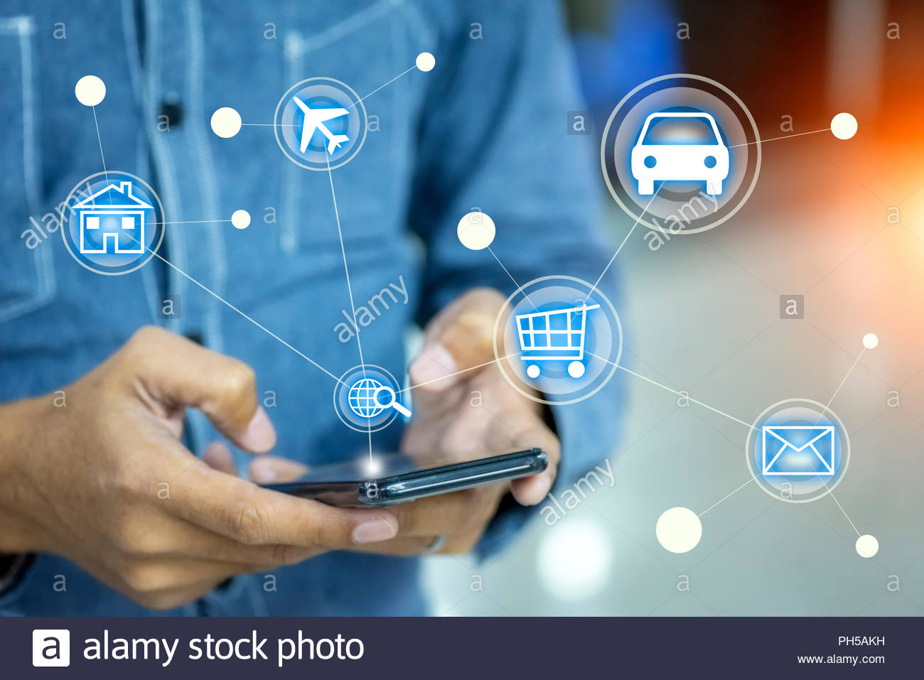 men using smartphone for searching information with internet icon,  internet of things 'IOT' concept - Stock Image