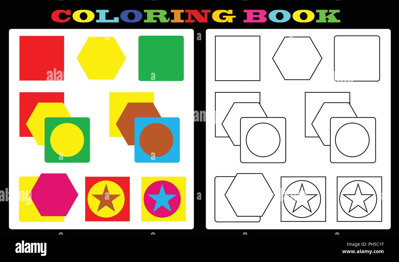 Coloring book colorful shapes and empty shapes for painting for kids