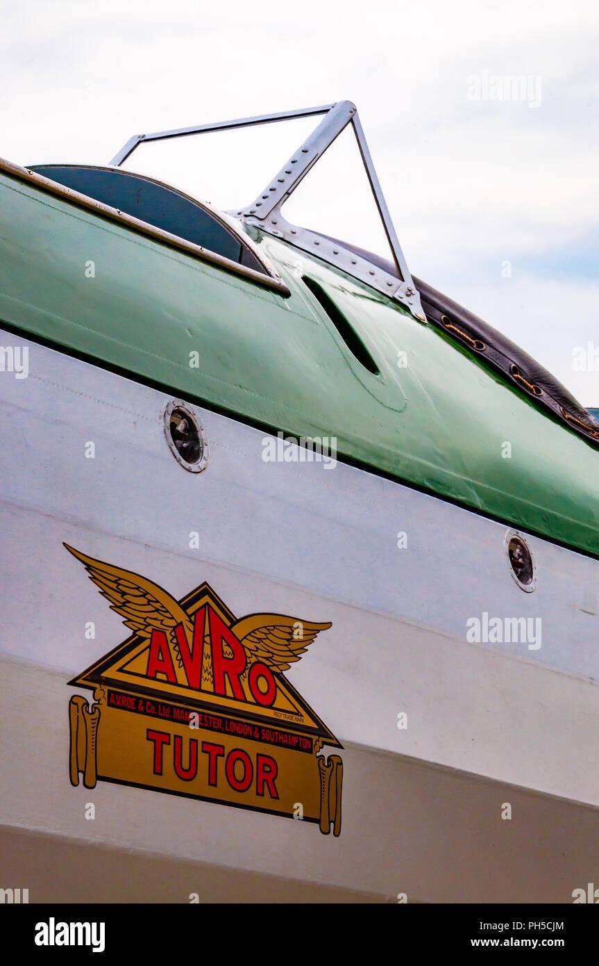 Cockpit and fuselage of an Avro Tutor biplane Stock Photo