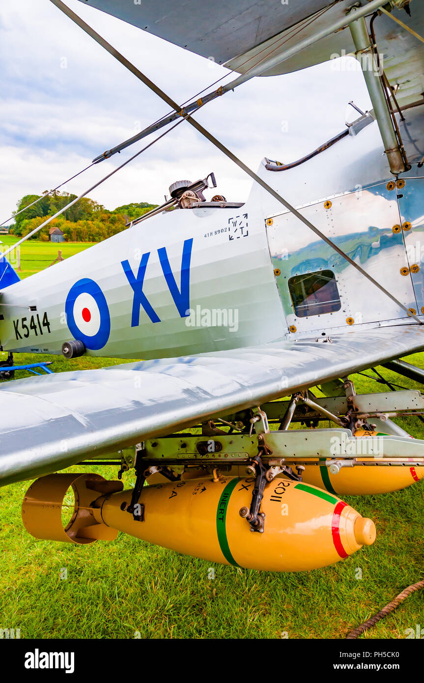 Hawker Hind K5414 biplane with two seats, a machine gun and bombs - Stock Image