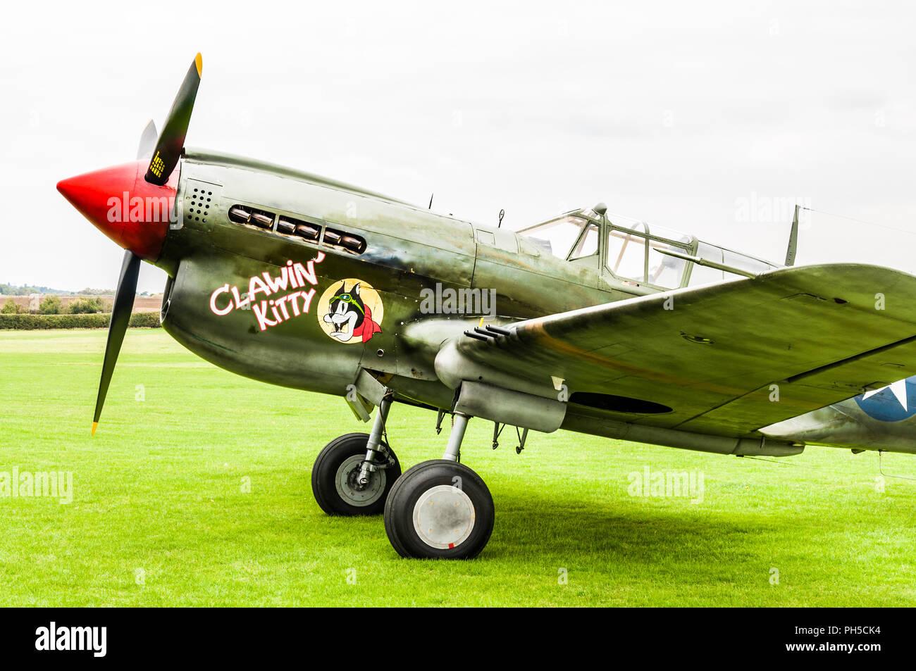 Curtiss P-40M Kittyhawk Clawin' Kitty jet plane - Stock Image