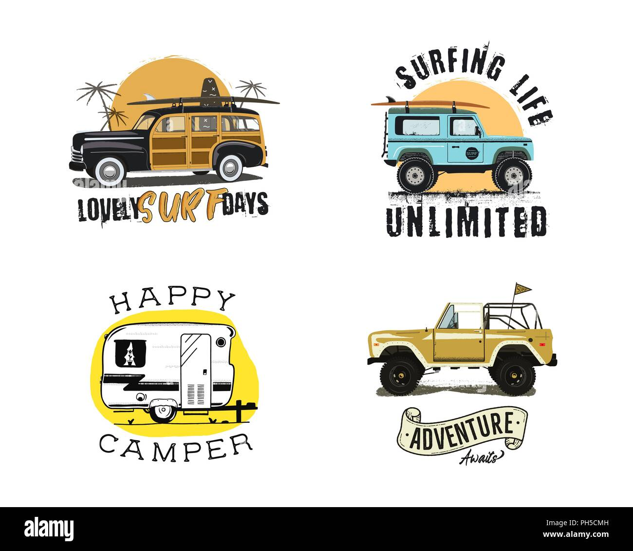 Vintage surfing graphics and emblems set for web design or print. Surfer logo templates. Surf Badges. Summer fun. Surfboard elements. Outdoors activity - boarding on waves. Vector hipster insignias - Stock Image