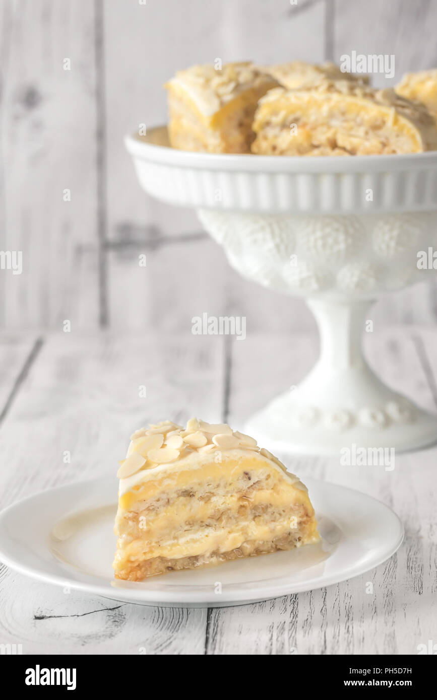 Portion of egyptian cake on the white plate - Stock Image
