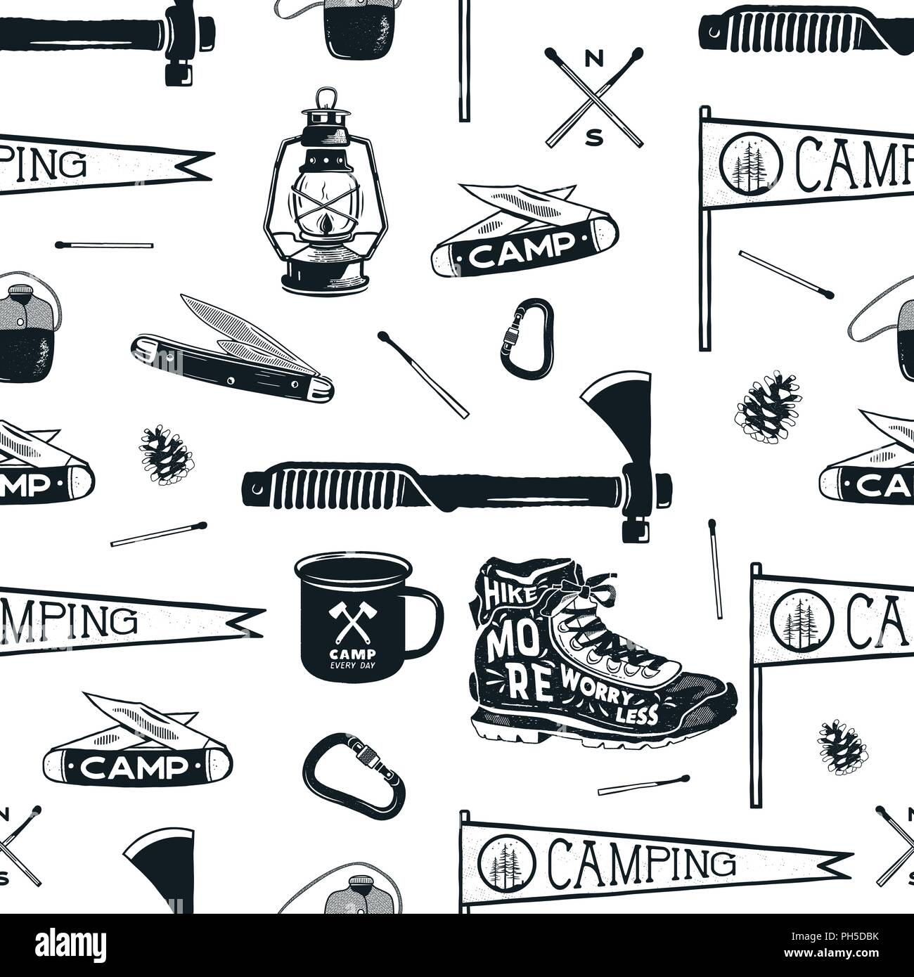 newest ec60f 7ab1c Vintage Hand drawn seamless pattern with camping equipment ...