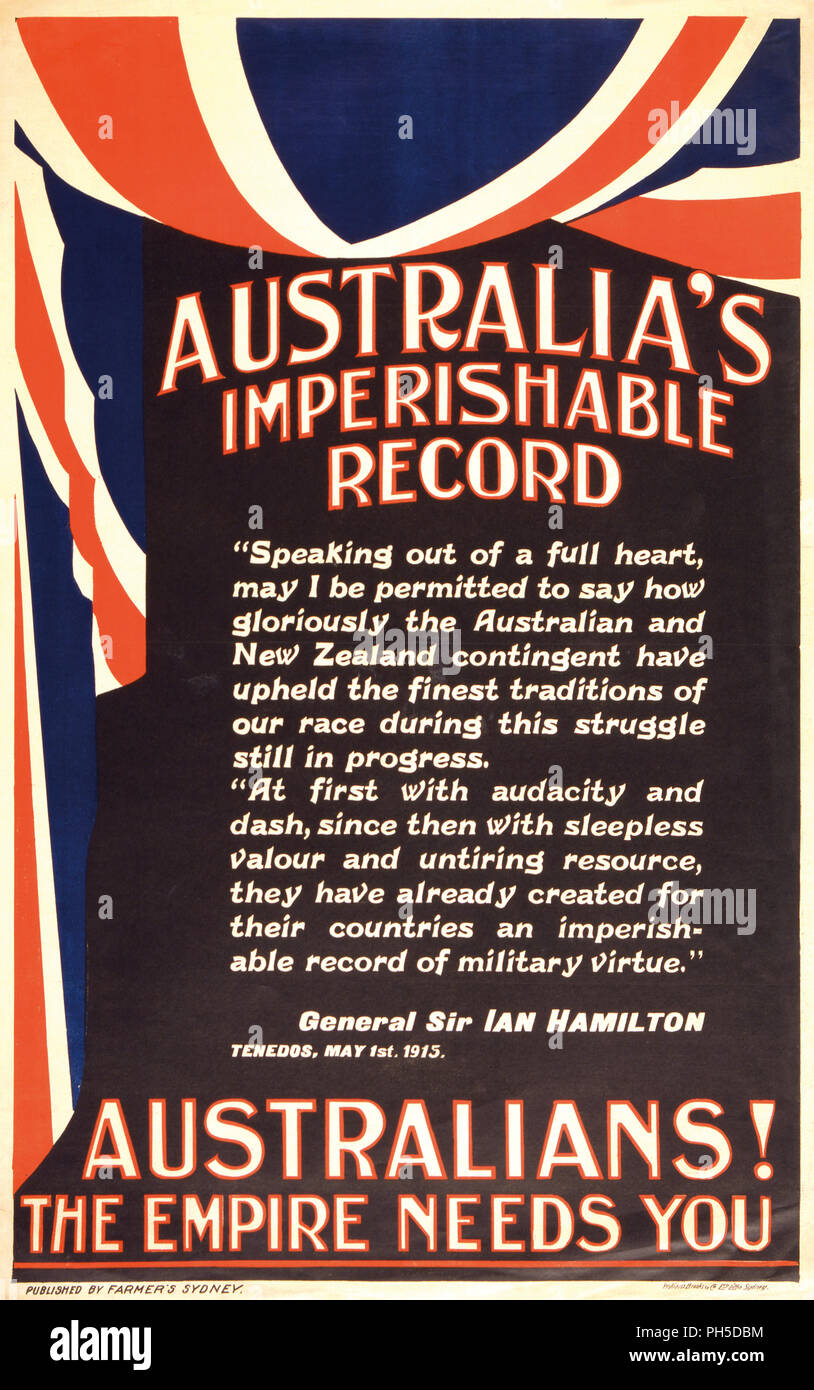 Australia's Imperishable Record.  Poster created 1915 or 1916 during the First World War as propaganda to encourage Australians to join the armed forces. The poster quotes from a speech by General Sir Ian Hamilton, commander of the Mediterranean Expeditionary Force during the Gallipoli Campaign in which Australian and New Zealand troops were an integral part. - Stock Image