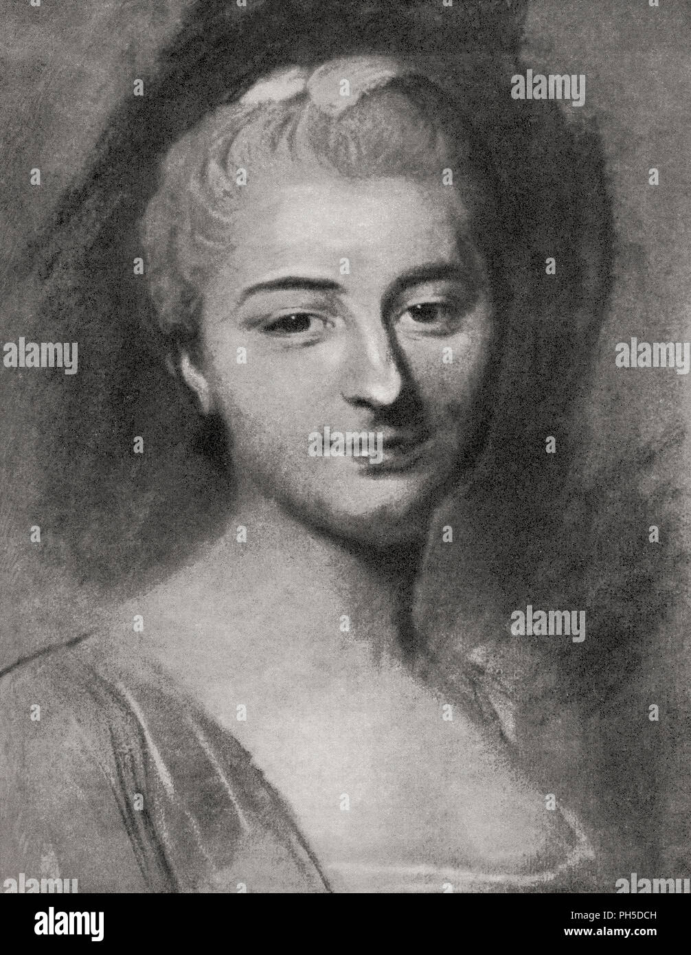 Jeanne Julie Éléonore de Lespinasse, 1732 – 1776.  French salon holder and letter writer.  After a work by French Rococo portraitist, Maurice Quentin de La Tour, (1704 – 1788).  From La Tour, published 1920. - Stock Image
