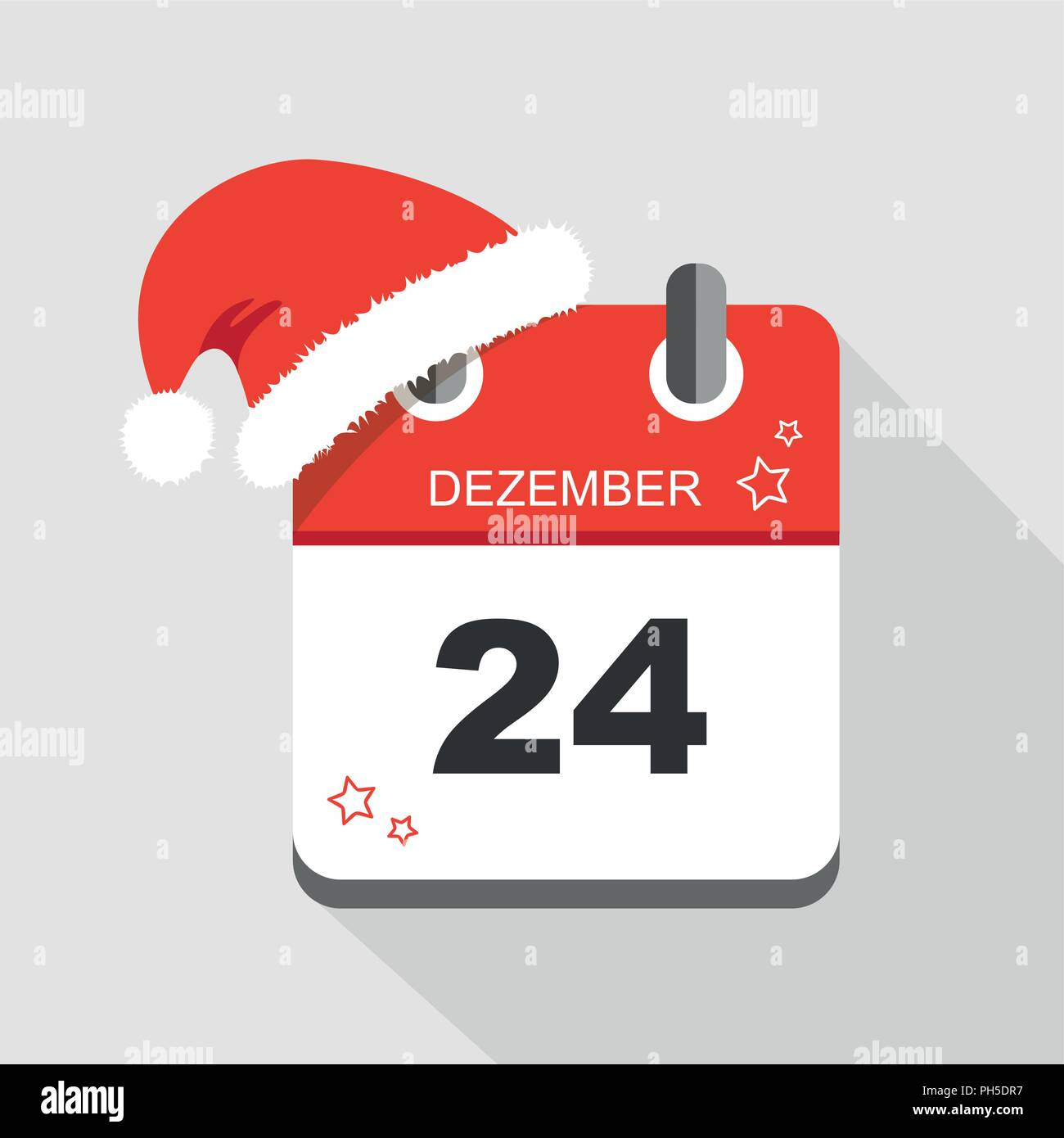 red calendar icon 24 december with christmas hat vector illustration EPS10 - Stock Image
