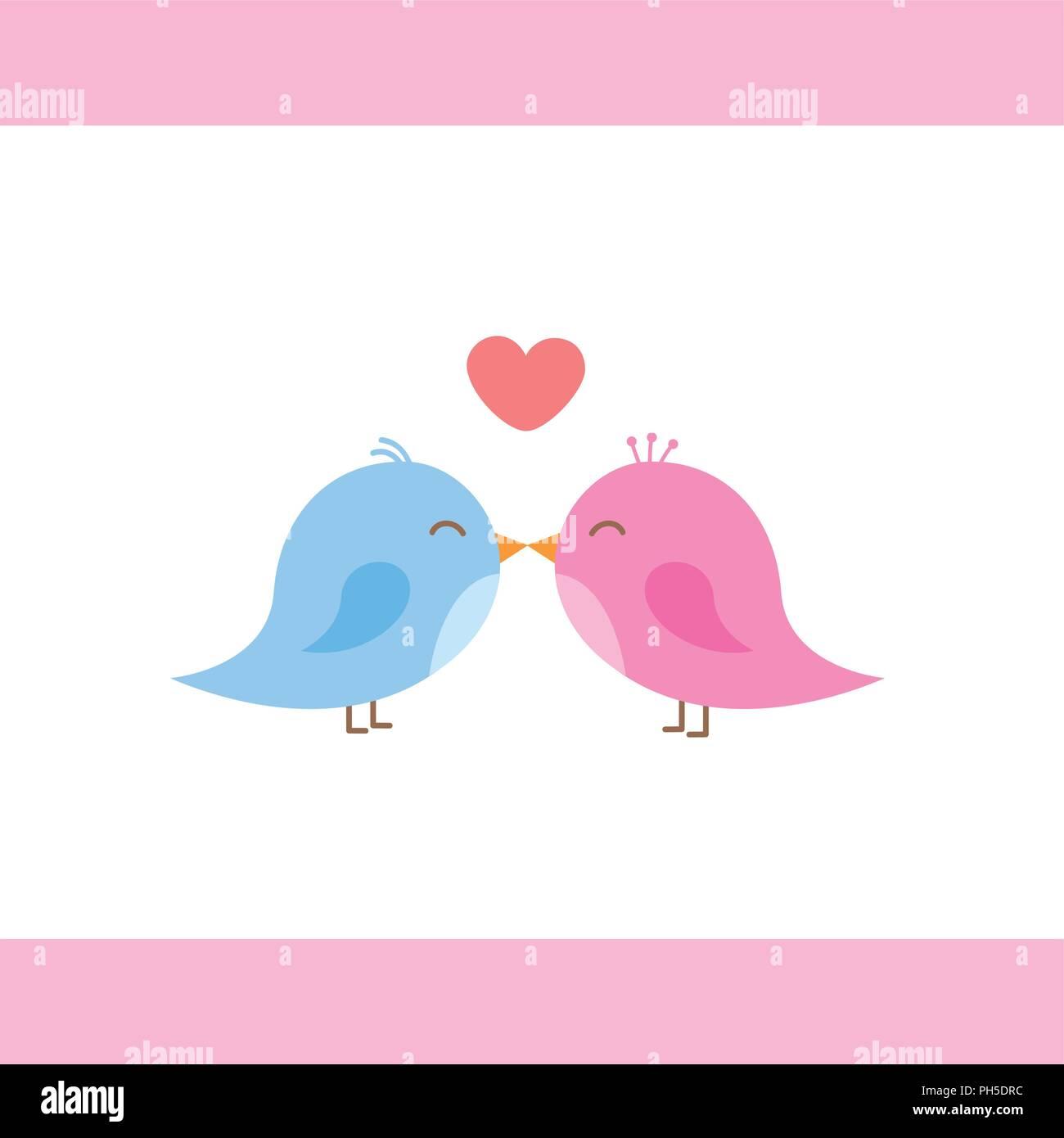 Two Cute Birds Are Kissing Cartoon Vector Illustration Eps10 Stock Vector Image Art Alamy