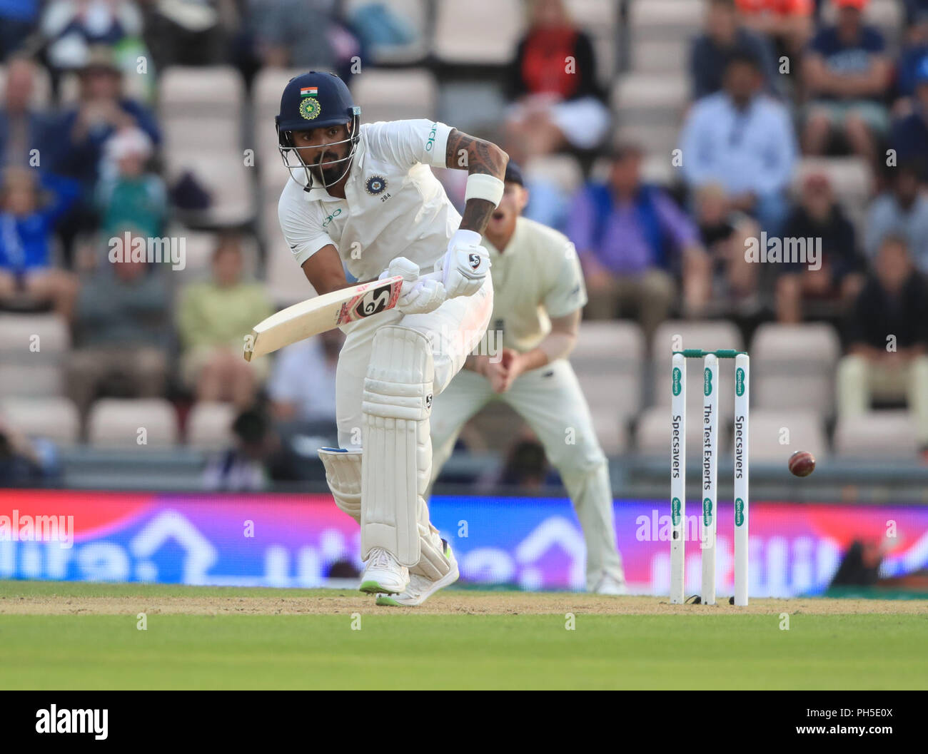 India's KL Rahul hits the ball away during the fourth test at the AGEAS Bowl, Southampton. Stock Photo