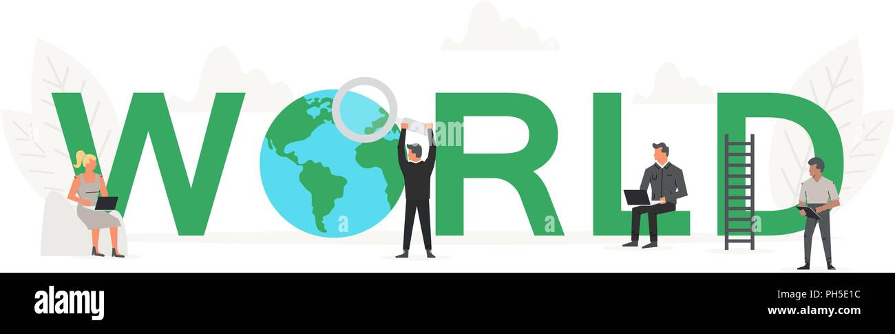 Big word World with small working people around it. Vector creative business banner for design concept. Illustration for presentations on white background - Stock Image