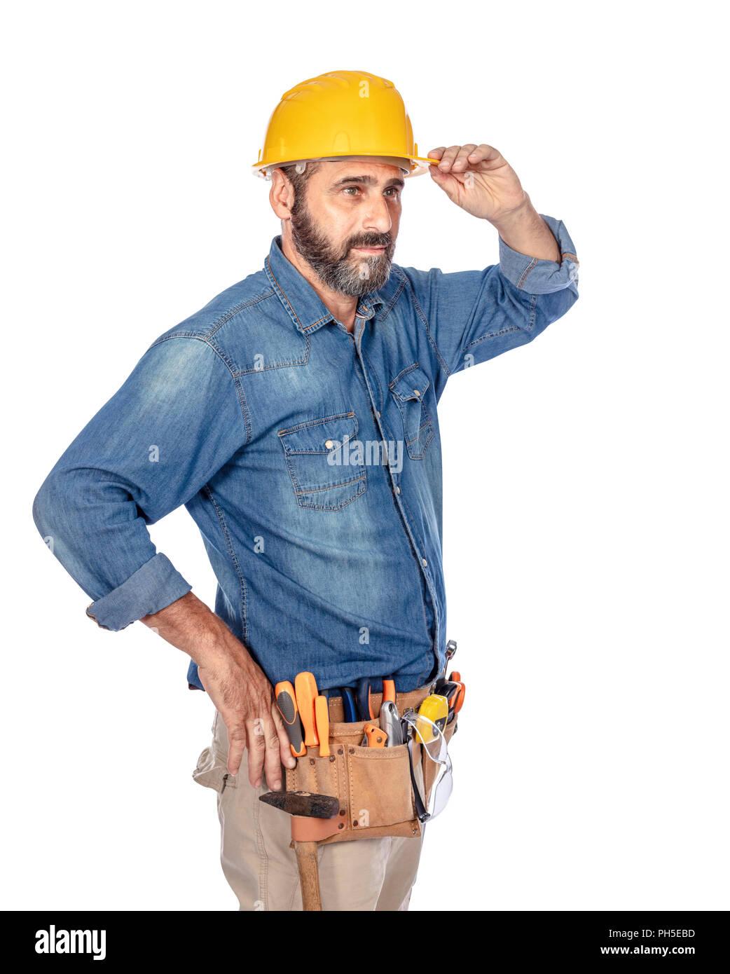 portrait of caucasian handyman isolated on white - Stock Image