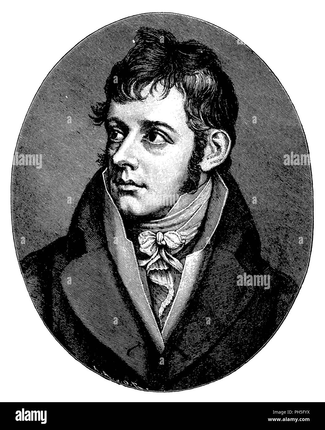 Daniel Friedrich Schleiermacher. After a drawing by H. Lips,   1899 - Stock Image