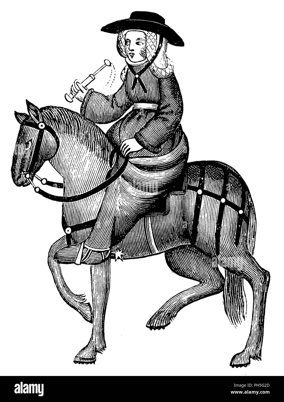 The widow of Bath. From the Elesmere manuscript of Chaucer's Canterbury Tales,   1895 - Stock Image