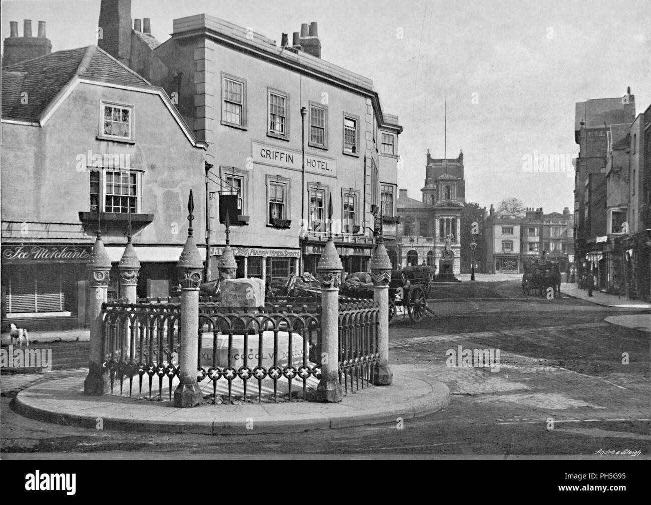 'Coronation Stone and Market-Place, Kingston-on-Thames', c1896. From Pictorial England and Wales. [Cassell and Company, Limited, London, Paris & Melbourne, c1896] Stock Photo