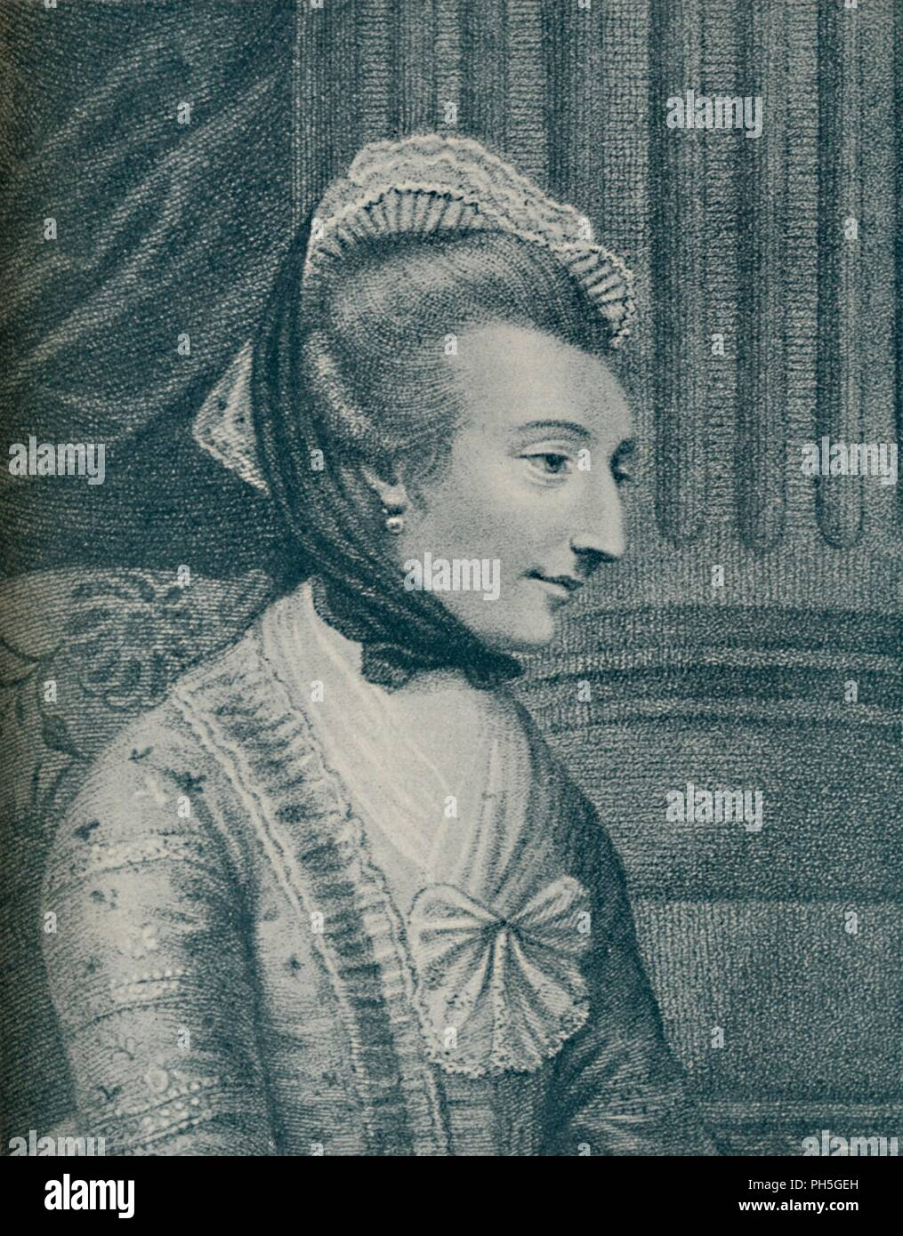 'Mrs. Elizabeth Montague (b. 1720, d. 1800)', 1907. Elizabeth Montagu (1718-1800), was a British social reformer, patron of the arts, salonist, literary critic, and writer who helped organize and lead the Blue Stockings Society. From The Life of Samuel Johnson, Vol. II by James Boswell. [Sir Isaac Pitman & Sons, Ltd., London, 1907] - Stock Image
