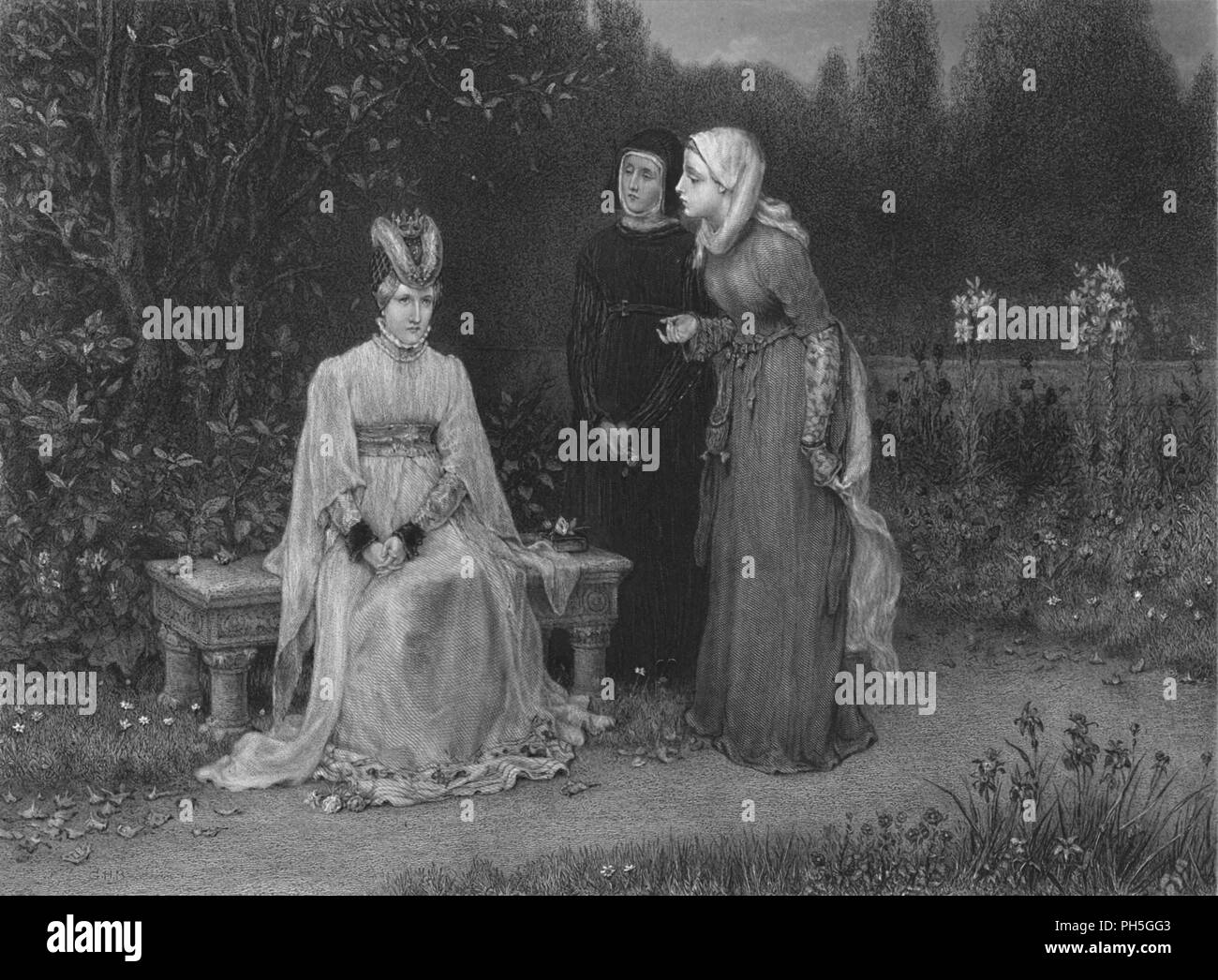 'Queen Isabella and Her Ladies (King Richard II)', c1870. From The Works of Shakspere, by Charles Knight. [Virtue & Co., Limited, London, c1870] - Stock Image