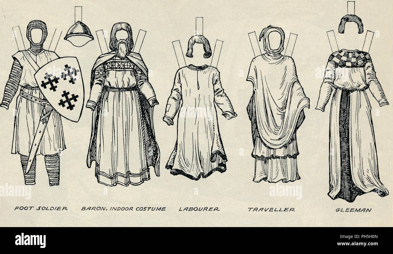 'The Gallery of British Costume: Types of Dress in Early Plantagenet Times', c1934. Illustration of costume worn during the Plantagenet period (1154-1485). Instructions are given in the accompanying text on how to trace the figures onto thin paper, paste them onto cardboard, and cut them out. Information on what colours to use is also given. From The Romance of the Nation, Volume One, edited by Charles Ray. [The Amalgamated Press, Ltd., London, c1934] - Stock Image