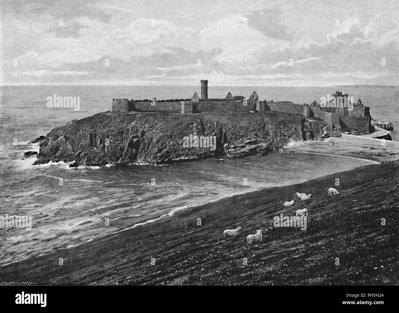 'St. Patrick's Island, Peel, Isle of Man', c1896. From Pictorial England and Wales. [Cassell and Company, Limited, London, Paris & Melbourne, c1896] - Stock Image