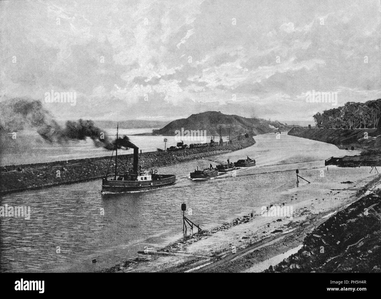 'Manchester Shop Canal, Above Eastham', c1896. From Pictorial England and Wales. [Cassell and Company, Limited, London, Paris & Melbourne, c1896] - Stock Image