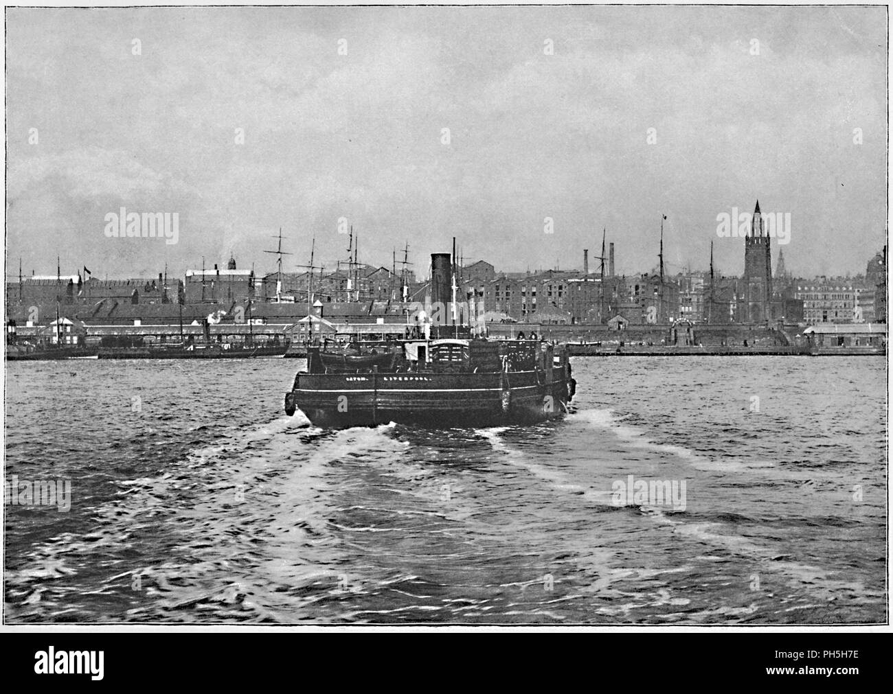 'Liverpool, from the Mersey', c1896. From Pictorial England and Wales. [Cassell and Company, Limited, London, Paris & Melbourne, c1896] - Stock Image