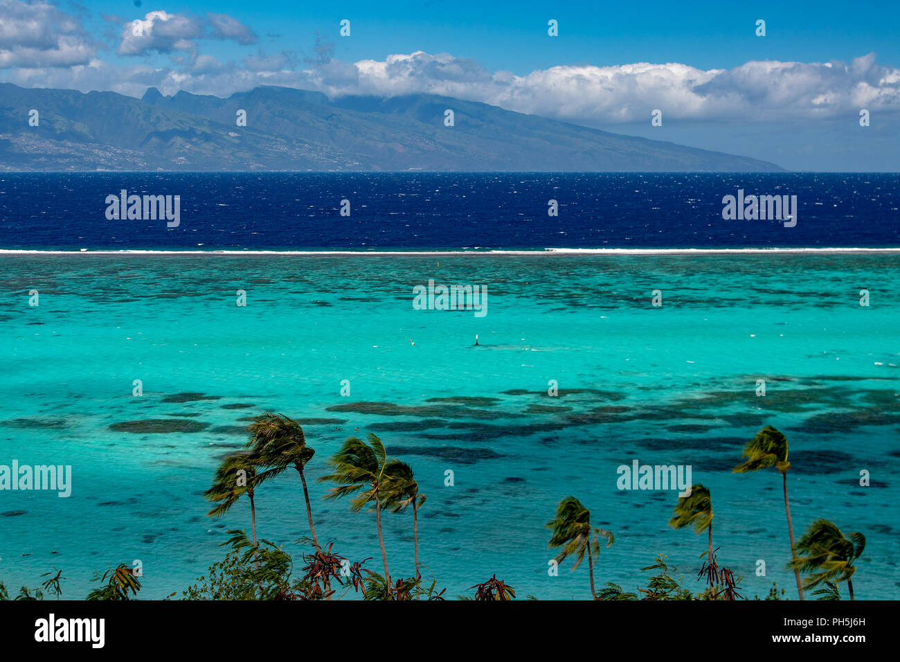 Moorea Lagoon View On Tahiti French Polynesia Stock Photo